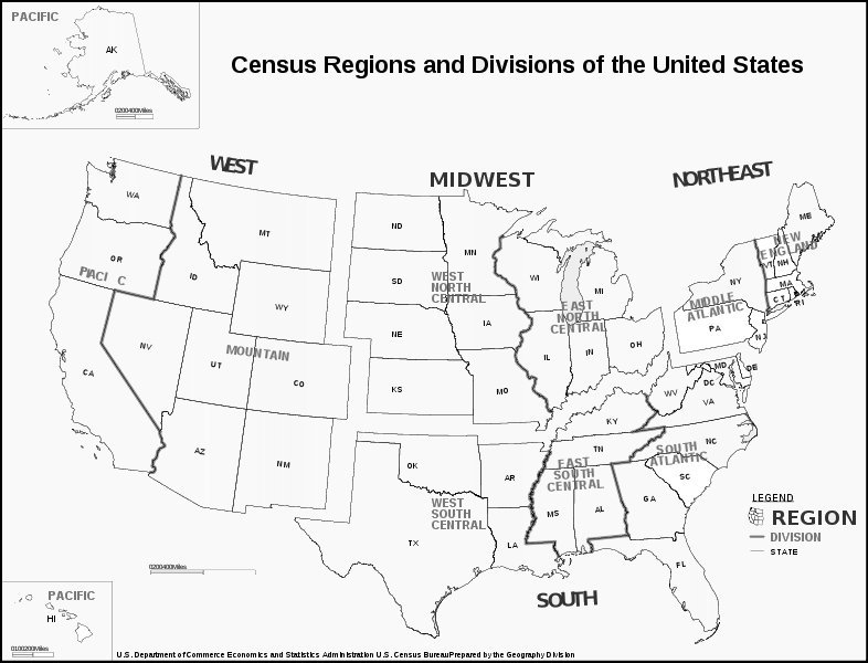 Census Bureau Regions Map