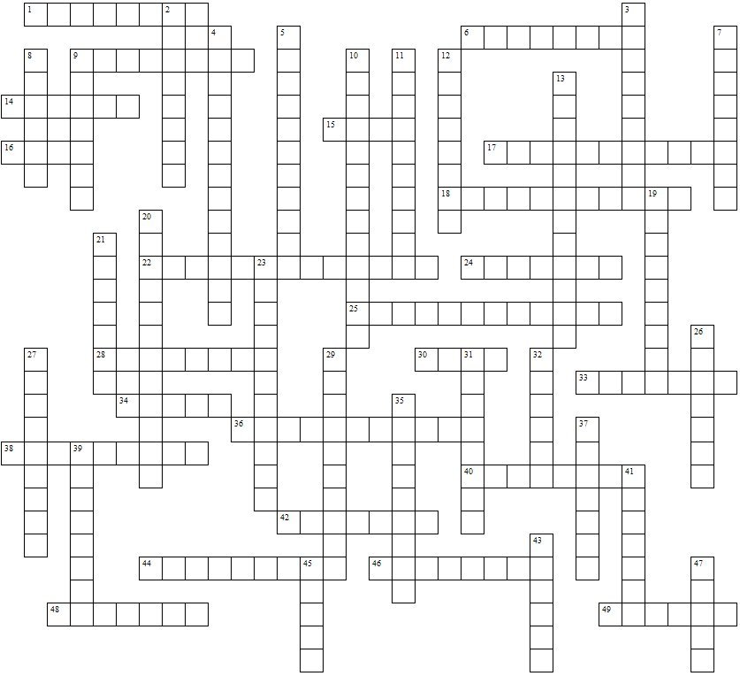 States And Capitals Crossword Puzzle Blank